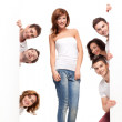 Funny friends advertising — Stock Photo