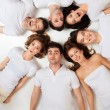 Circle of hilarious friends - Foto Stock