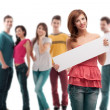 Young woman with blank ad banner — Stock Photo #6078638
