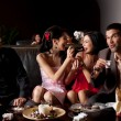 Couples funny dessert feeding — Stock Photo