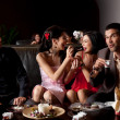 Couples funny dessert feeding — Stock Photo #6111046
