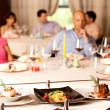 Having meal served in restaurant — Stock Photo