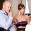 Couple having an argument at restaurant table — Stock Photo