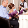 Waitress taking the order from restaurant table — Stock Photo