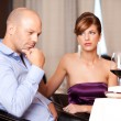 Stock Photo: Couple having an argument at restaurant table