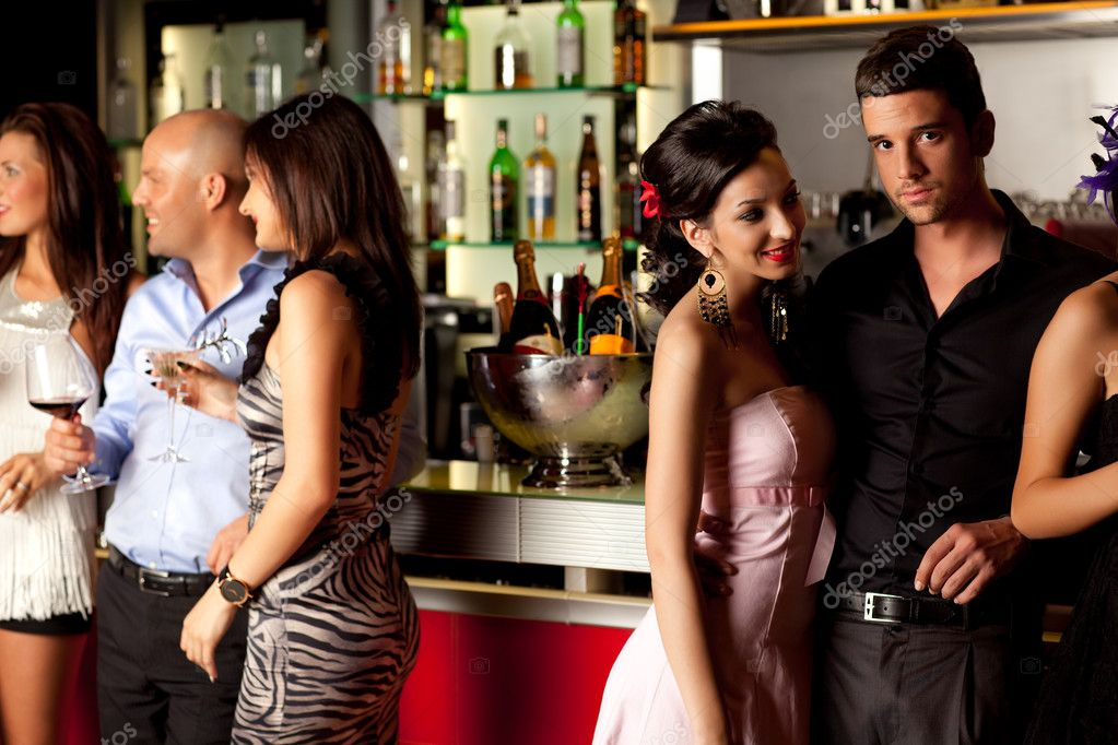 Young couples at bar counter having fun  Stock Photo #6277212