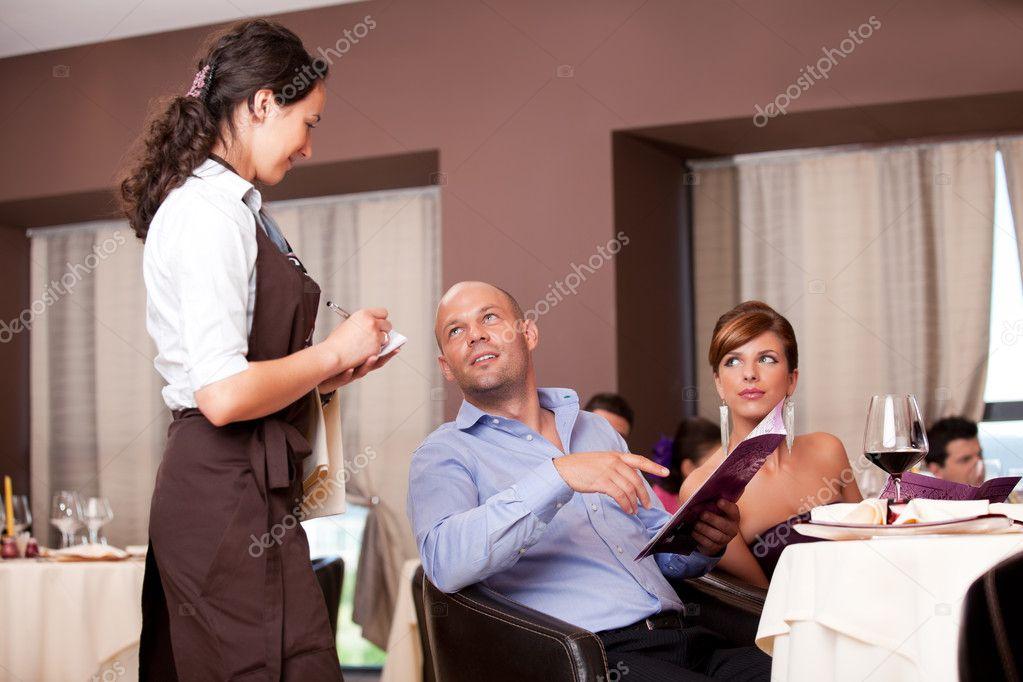 Waitress taking dinner order  Waiter Taking Order