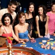 Happy excited about roulette bet outcome — Stock Photo