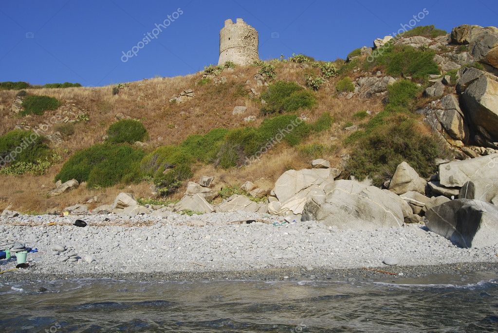 A historic Saracen tower on the coast of the Calabria in the south of Italy  Stock Photo #6586567