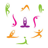 Yoga - a set of icons — Stock Vector