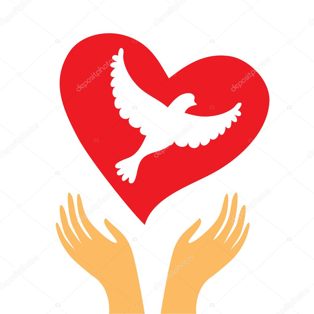 The sign of peace and love - the heart and a dove in his hands. — Stock Vector #5537380