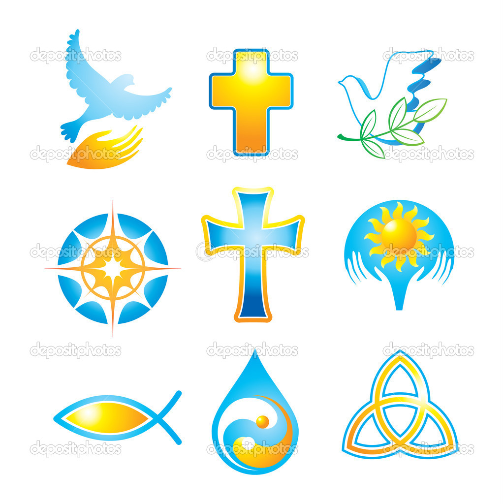 Collection of religious icons, symbols — Stock Vector #5775846