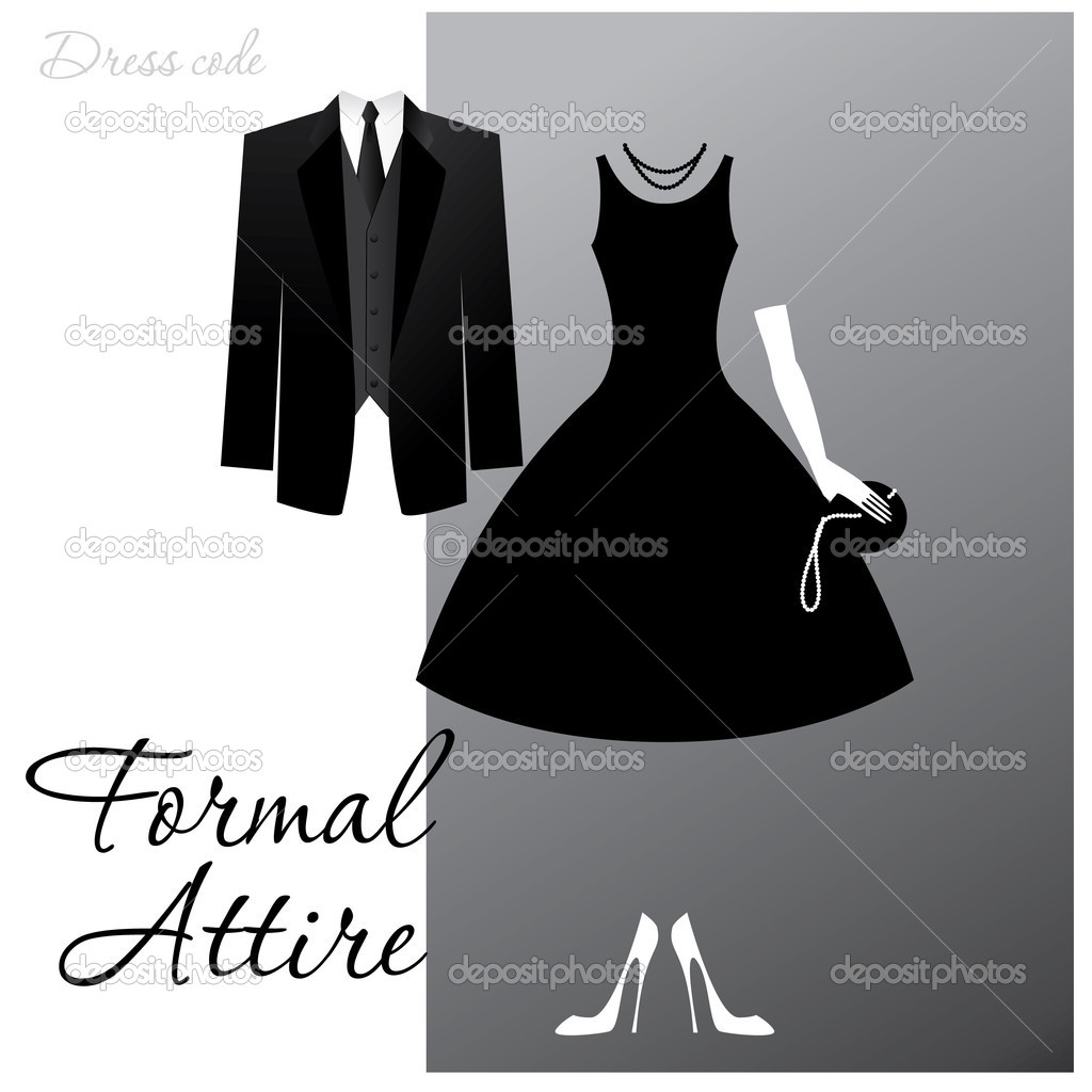 Dress code - Formal Attire. The man - a black tuxedo, a dark jacket and tie, the woman - cocktail dress. — Stock Vector #5775859