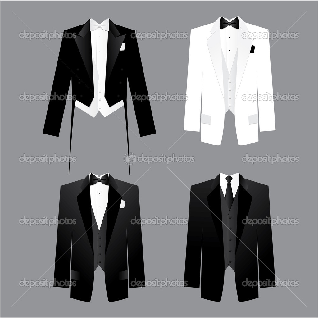 Dress code for men - male costume: tails, tuxedo, dress suit.Options along for the soiree, presentations, business meetings, parties, etc. — Stock Vector #5775885