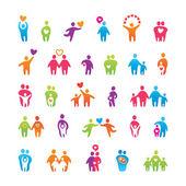 Set-icone-amore-famiglia — Vettoriale Stock
