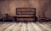 Old room with piano background — Stock Photo