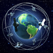 Satelitów wokół ziemi — Zdjęcie stockowe