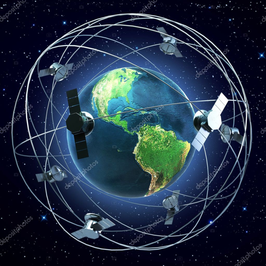 Satellites flying around earth background  Stock Photo #5792610