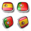 Spain and Portugal 3d flag button — Stock Photo
