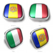 andorra and italy 3d flag button — Stock Photo