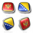 Montenegro and Bosnia Herzegovina 3d flag button — Stock Photo