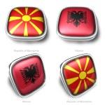 Republic Macedonia and Albania 3d flag button — Stock Photo