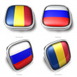 Romania and Russia 3d flag button — Stock Photo