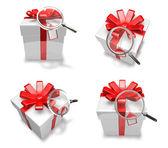 3d regalo bianco decorato — Foto Stock