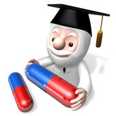 3d doctor man with capsule — Stock Photo