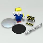 3d repairman under construction — Stock Photo