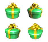 3d cadeau vert décoré — Photo