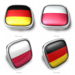 Germany and Poland 3d flag button — Stock Photo