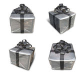 3d decorated gray gift — Stock Photo