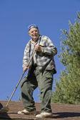 Senior on a roof — Foto de Stock