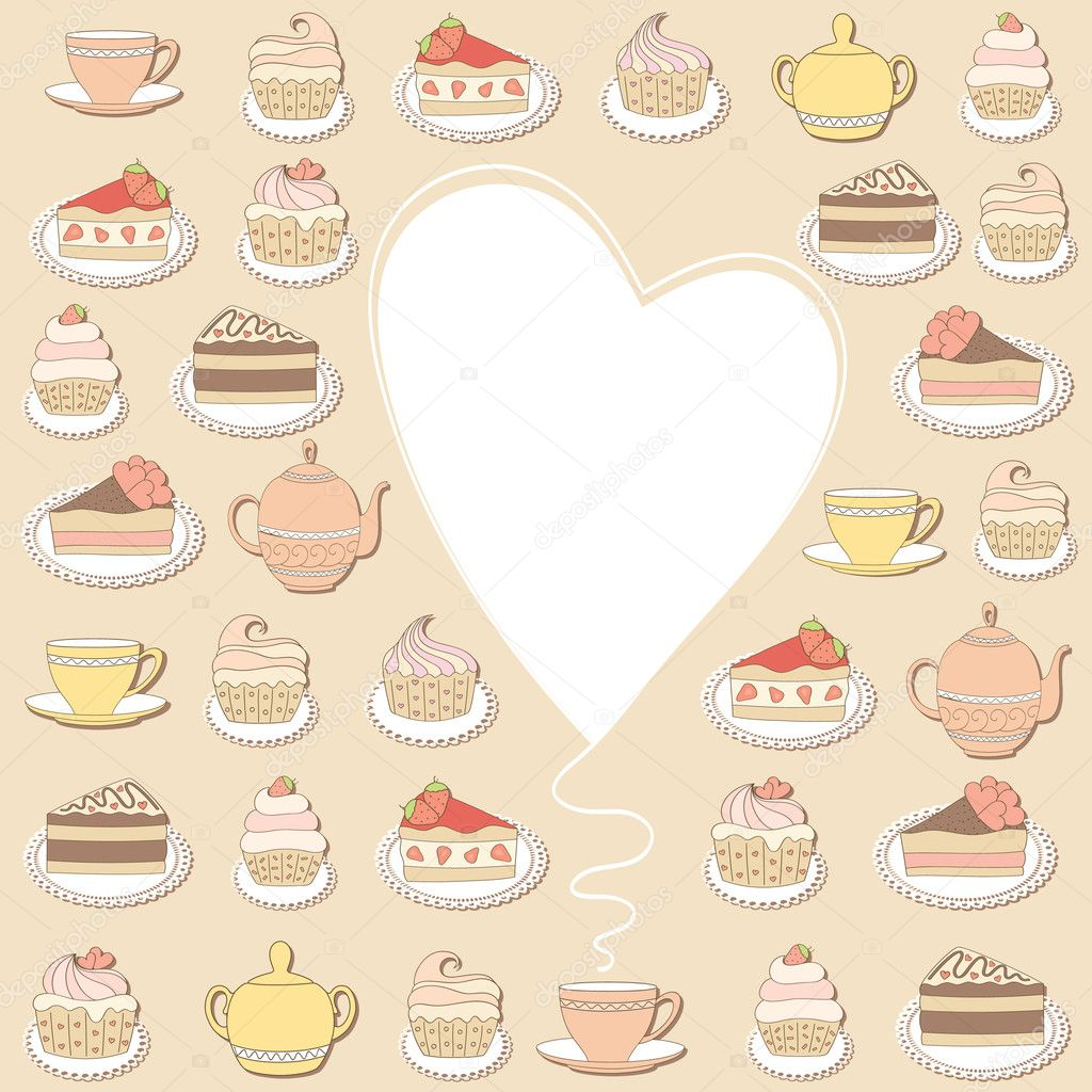 Frame with cakes and ice creams. Vector illustration. — Stock Vector #5798935