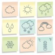 Sticky notes with weather simbols. — Stock Vector #5908347