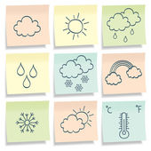 Sticky notes with weather simbols. — Stock Vector