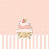 Beige Hintergrund mit Cupcake. Vektor-illustration. — Stockvektor