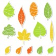 Stok Vektör: Set of leaves. Vector illustration.