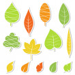 Set of leaves. Vector illustration. — ベクター素材ストック