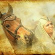 Royalty-Free Stock Photo: Pharaoh with horse vintage toned