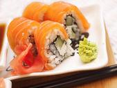 Philadelphia salmon sushi on plate — Stock Photo