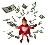 Superhero with a dollar — Stock Photo