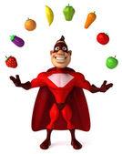 Superhjälte och grönsaker — Stockfoto