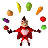 Superhero and vegetables — Stock Photo