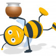 Honey and bee — Stock Photo