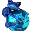 Frog with a blue globe — Stock Photo