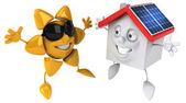 Huis met zonnepanelen — Stockfoto