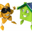 House with solar panels - Foto Stock