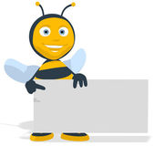 Fun bee with a blank sign — Stock Photo